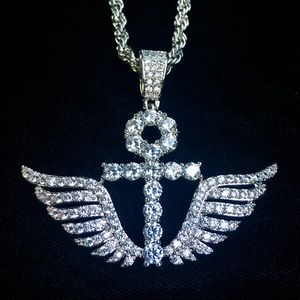Other - ANKH WINGS DIAMONDS CZ 18K WHITE GOLD CHAIN ITALY